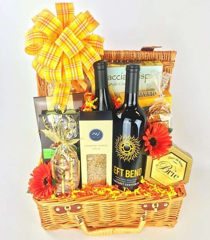 work from home wine basket gift