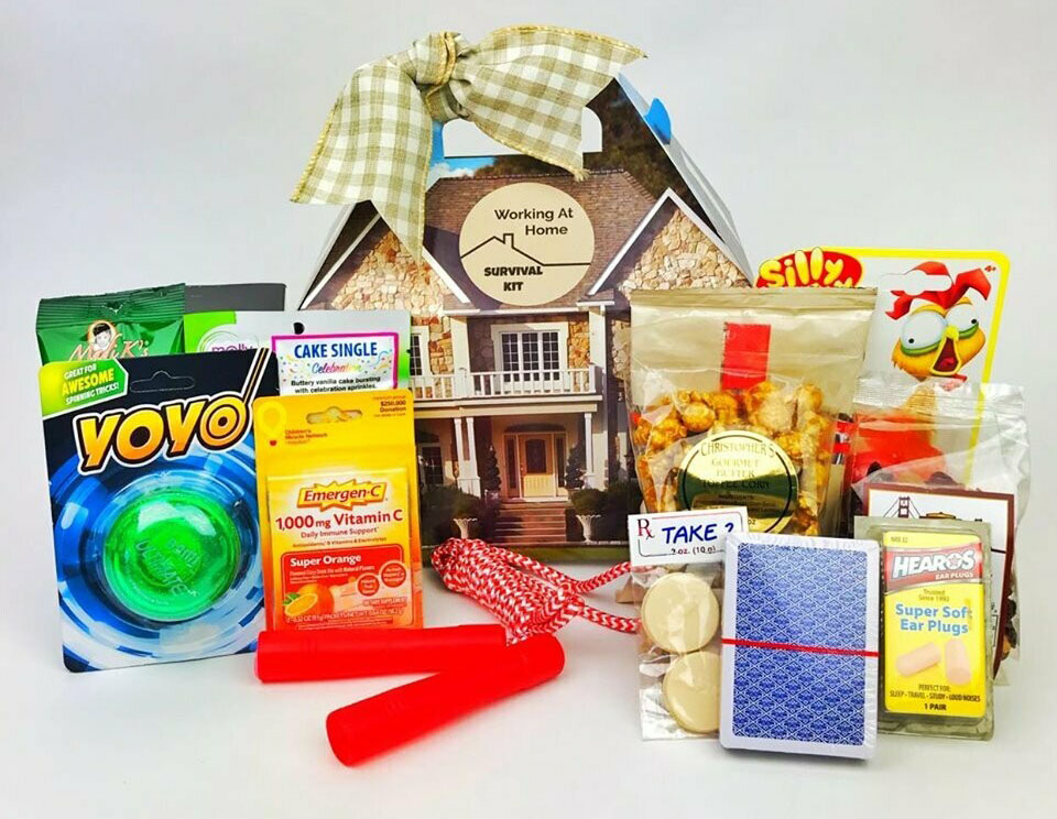 Work from home survival kit gift basket