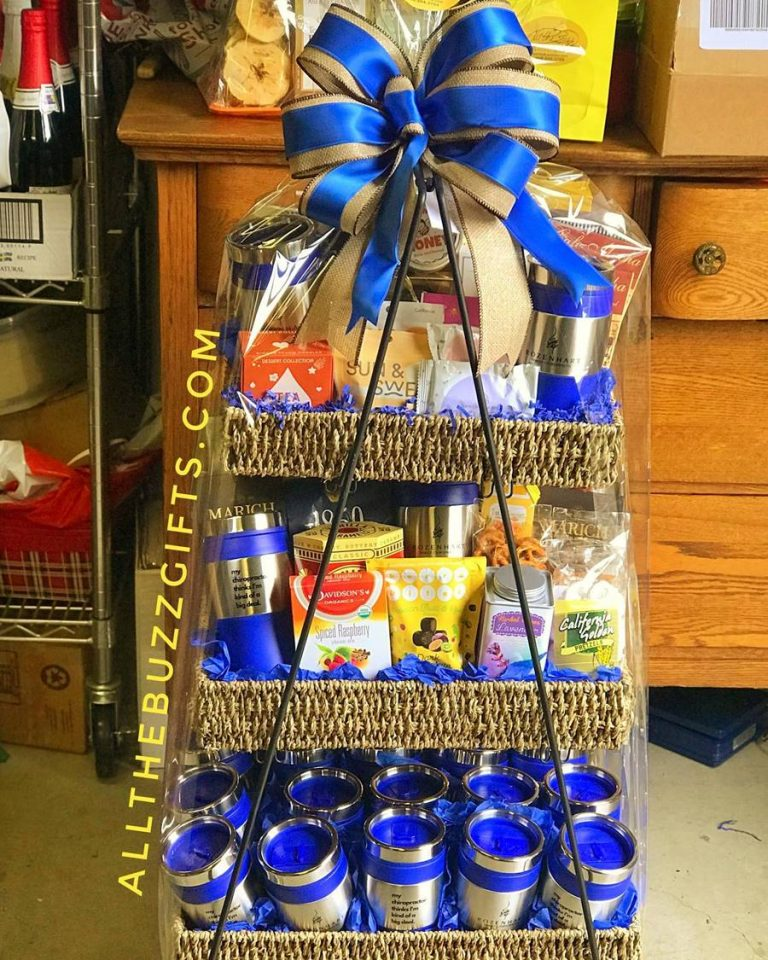 Custom Corporate Gift basket with custom thermos.